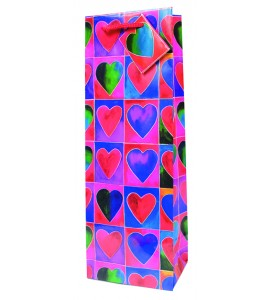 Hearts Paper Wine Bag