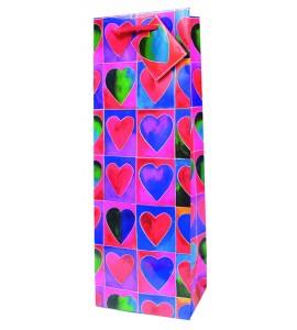Hearts Paper Wine Bag