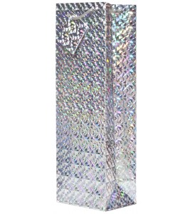 Silver Hologram Wine Bag