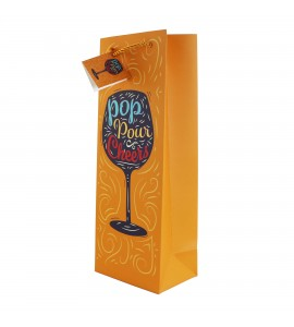 "Pop Pour Cheers, Wine Gift Bag ""Web Exclusive"""