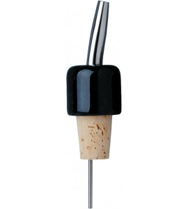 Black Marble Pourer, Stainless Steel Spout with Natural Cork Base