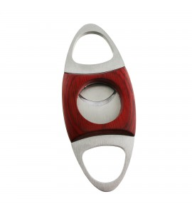 Stainless Steel Cigar Cutter Rosewood Inlaid Collar