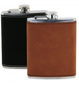 Suave™ Leatherette Wrap Captive-Top Pocket Flask, 8 oz.