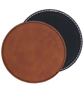 Suave Round Coaster Leatherette- Black (01) or Rawhide (30)