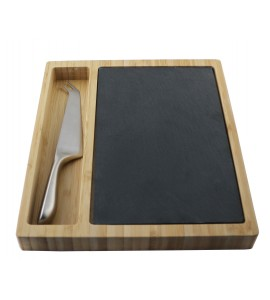 Acacia Cheese Board w/Slate Insert with Stainless Steel Knife