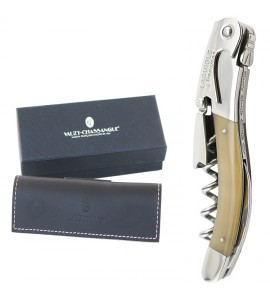 Laguiole Tradition® Two-Lever Waiter's Corkscrew, Brown Horn