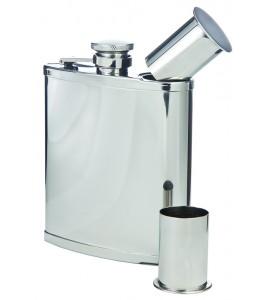 Double-Shot Captive-Top Pocket Flask, 6 oz.
