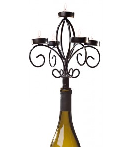 Wine Bottle Candelabra, Antique Black
