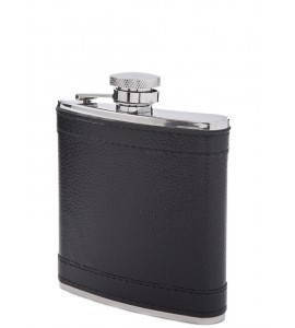 S/S 6 oz Flask with Black Leather Suede