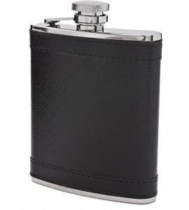 S/S 8 oz Flask with Black Leather Suede
