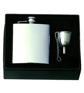 Captive-Top Pocket Flask Gift Set With Funnel & Chain, 6 oz.