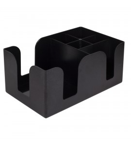 Bar Caddy, Six Compartments, Black