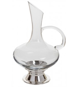 Virtual Orbital Decanter, with Handle with Silver Plated Base, 2 Quart Rim-full
