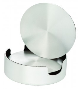 Aluminum Coasters, Cushioned Base with Holder- set of 4