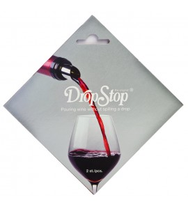 Two DropStop® Wine Pourers on a Rack Card
