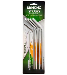 Stainless Steel Drinking Straws, (4) Plus Cleaning Brush