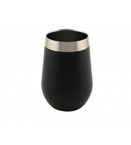 Apollo™ Triple-Wall Stemless Wine Glass, S/S, 12 oz. Black Textured