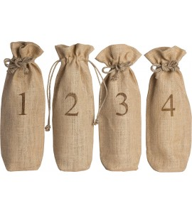 Jute Blind Wine Tasting Sacks - Set of 4