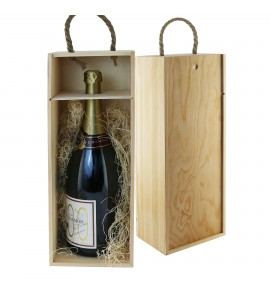 WineChest™ Magnum Single Bottle Wood Box w/ rope handle