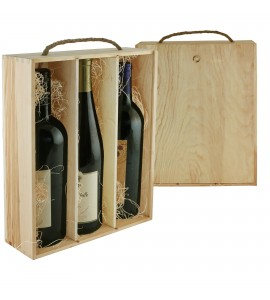 WineChest™ Three Bottle Wood Box w/ Rope Handle