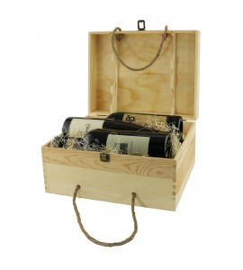 WineChest™ Six Bottle Wood Box w/ Rope Handles