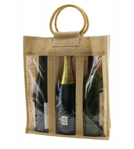 Jute Vino-Sack™, With Clear Poly Window, Three Bottle