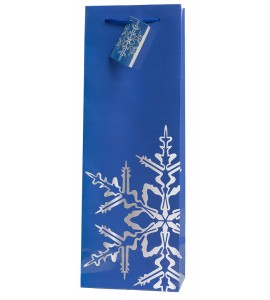 Snowflake Blue Wine Bag