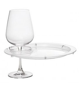 Round Party Plate With Built-in Stemware Holder