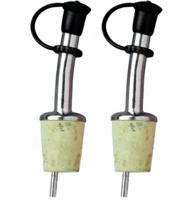 Bottle Pourers, Stainless Steel with Agglomerate Natural Cork