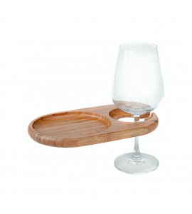 Mini-Oval Party Plate with Built-in Stemware Holder, Bamboo