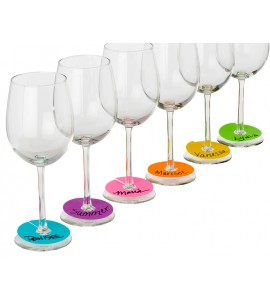 Neon Party Wine Glass Paper Tags Set 60 each