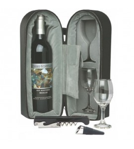 Wine Travel Case with Corkscrew and Stopper