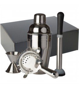 Bar Gift Set #11 (4 Piece Set) in Black Gift Box, Stainless Steel