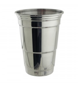 """""""Red Cup"""" Style Glass, 16 oz., Polished Stainless Steel"""
