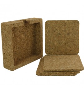 Square Cork Coaster Set of 4 with Holder Cork Box