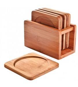 Bamboo Coaster Set with Bamboo Holder, Set of 6 each of 9239