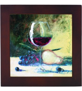 Ceramic Trivet with Wine glass and Fruit Art Image- Lower Price