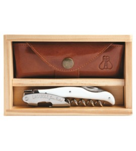 Laguiole Millésime® White Horn Set with Wood Box and Leather Pouch