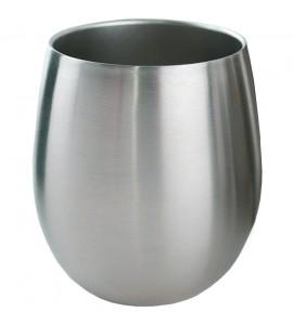 Triple-Wall Stemless Wine Glass, Stainless Steel, 8 oz. Rimfull