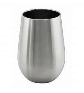 Triple-Wall Stemless Wine Glass, Stainless Steel, 12 oz. Rimfull
