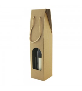 Heavy Duty Kraft Wine Bottle Carrier. One Bottle