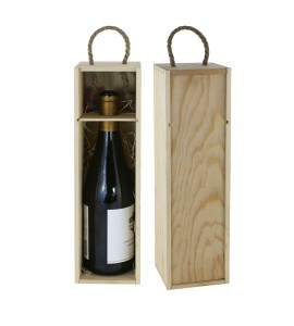 WineChest™ Natural wood single bottle box w/ rope handle
