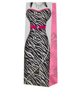 Zebra Lady Wine Bottle Bag
