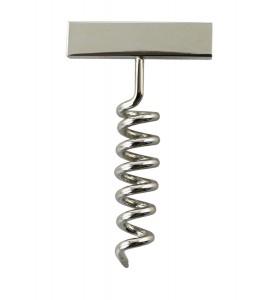 Corkscrew Lapel Pin, Nickel Plated
