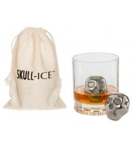 Two Skull-Ice™ Cubes, Stainless Steel with Cotton Storage Bag