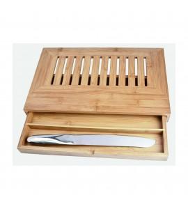 Deluxe Bread Cutting Board w/Drawer & Knife