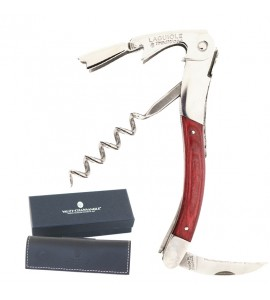 Laguiole Tradition® Two-Lever Waiter's Corkscrew, Red Stamina