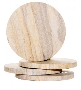 Sandstone Round Coasters, Natural Radiant, Set of 4