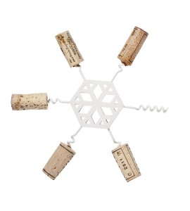 Snowflake Cork Trivet, White Enamel Finish