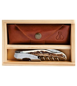 Laguiole Millésime® Genuine Stag Horn Handle Set with Wood Box and Leather Pouch